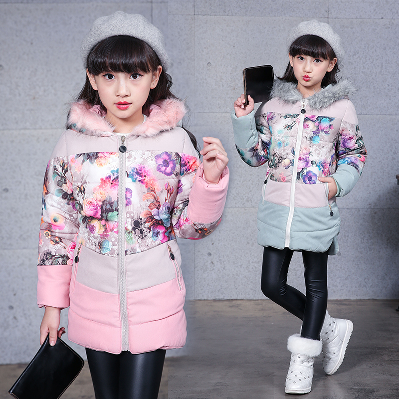 Winter Girls' Fur Hooded Parka Kids Fashion Outwear Girls Warm Coat Snow Wear Children's Top