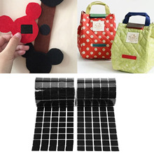 100 Pairs 20mm Black Square Self-adhesive Hook and Loop Strips Tape Strap for Home School Offfice Daily Use