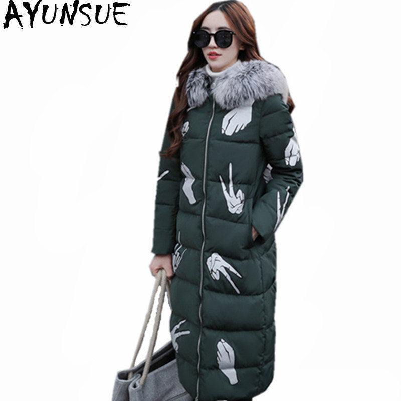 AYUNSUE 2019 New White Duck Down Jacket Long Women Parka Fur Collar Hooded Warm Winter Coat Female Jackets Abrigos Mujer WXF402