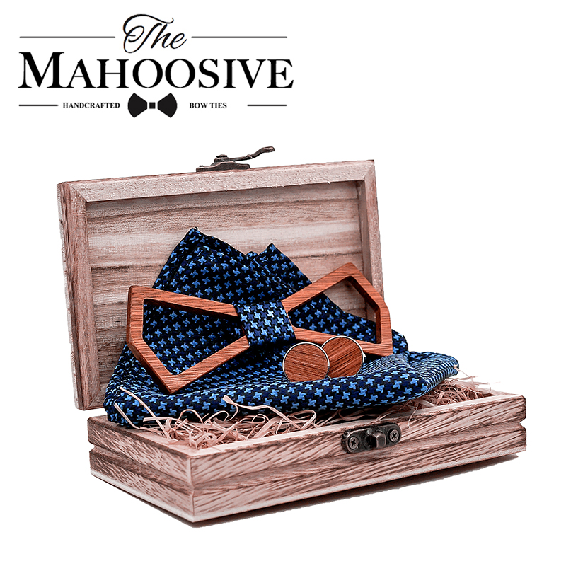 Mahoosive New Arrival Men Wooden Bow Tie Shape Bowknots Hollow Cut Out Wood Bow Ties For Mens Wedding Suits