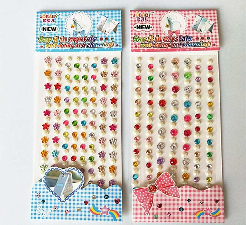 bae2fcf72e 2018 Hot Sale 1pc Crystal Diamond Pearl Stickers for Scrapbooking Self  Adhesive Children DIY Creative Craft Material