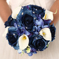 Elegant Artifical BLUELOVER Wedding Bouquet Bridal Accessory With Beaded Ramos De Novia Brooch Bouquet Bridesmaid Holding Flower