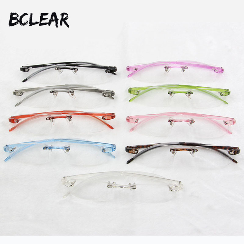 BCLEAR 9 colors unisex fashionable colorful TR90 plastic rimless optical frame eyeglasse ...