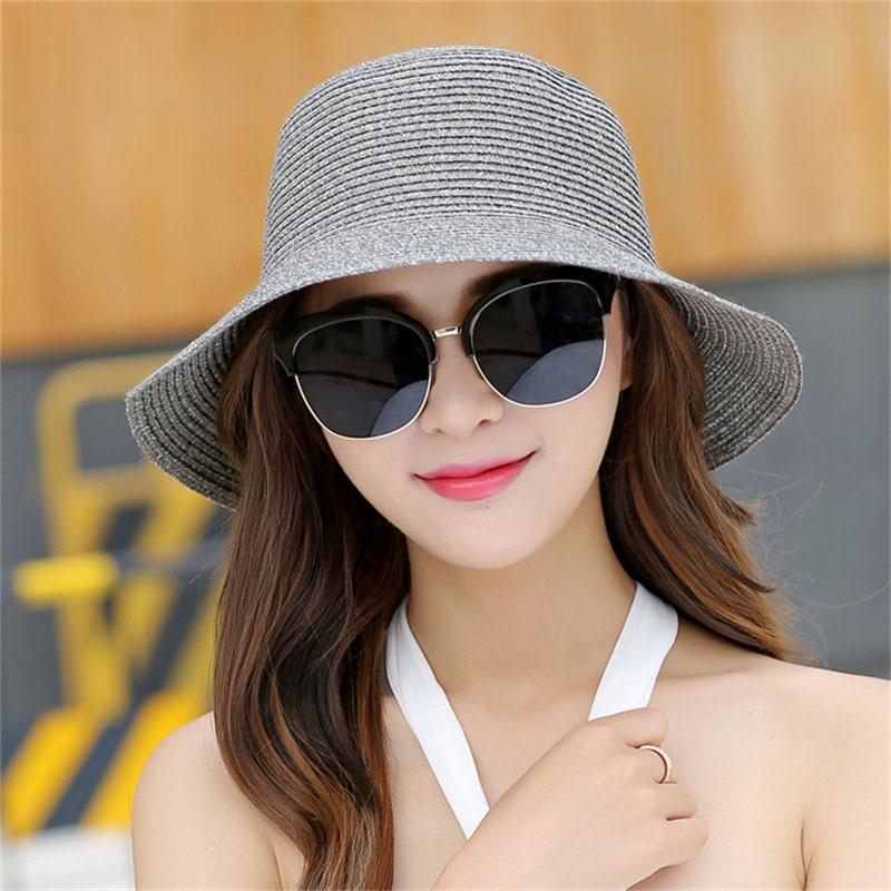 9b9ad6f6f 2018 New Lady Fashion Summer Hat Brand Women's Sun Hats Woman Cap Casual  Straw Foldable Big Brim Shade Sunscreen Girl