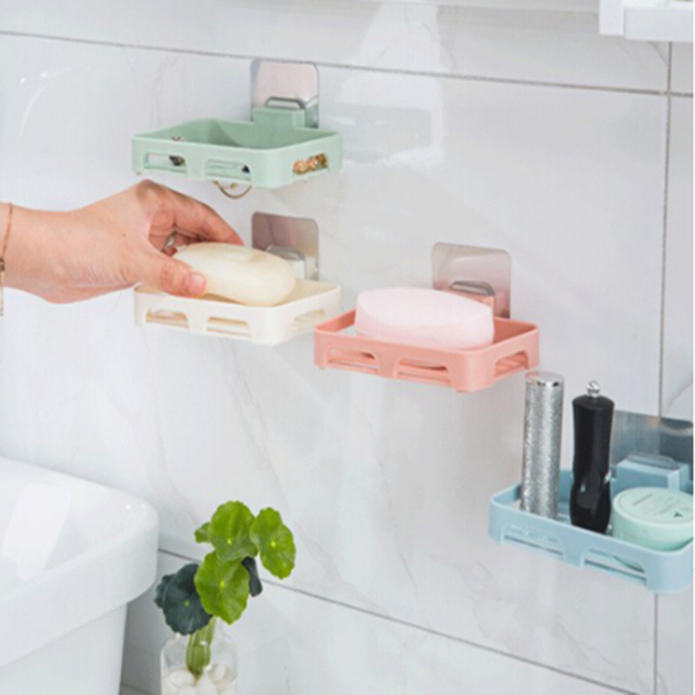 2019 Bathroom Shower Soap Box Dish Storage Plate Tray Holder Case Soap Holder Bathroom Tray Accessories Box Shelf Wall Dishes
