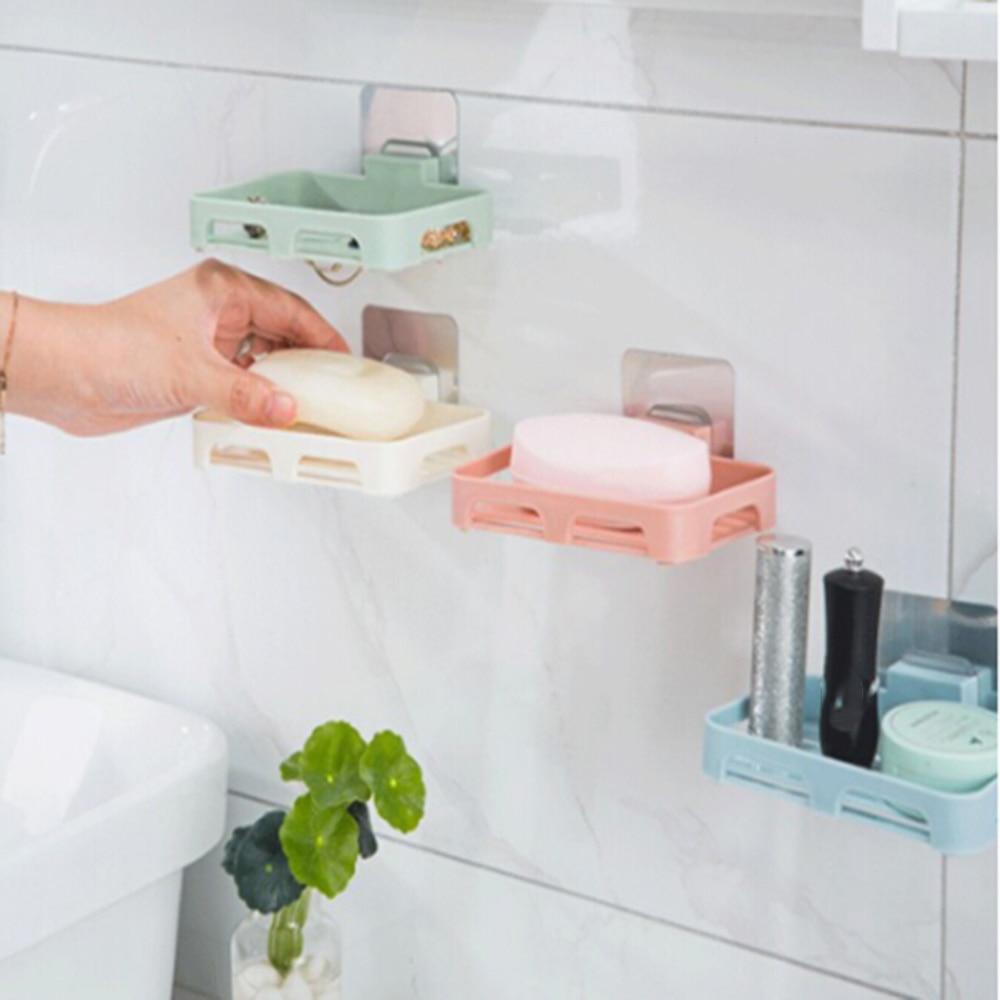 New Bathroom Shower Soap Box Dish Storage Plate Tray Holder Case Soap Holder Bathroom Tray Accessories Box Shelf Wall Dishes