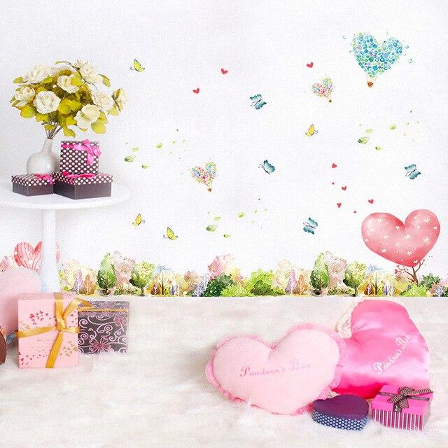 Luca Palazzi XL7146 Papillons Qui Volent Autour Coeur Fleurs Décor Pour Le  Désherbage Chambre Home Decor