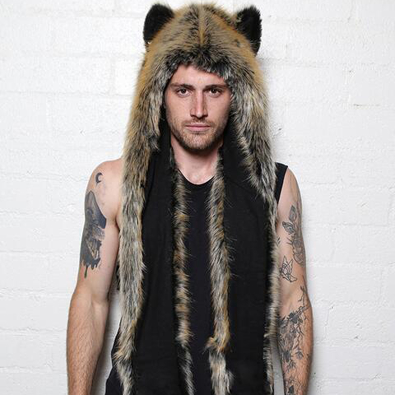 Faux Fur Hood Animal Hat Ear Flaps Hand Pockets 3in1 Animal Hood male Hat Wolf Plush Warm Animal Cap with Scarf Gloves