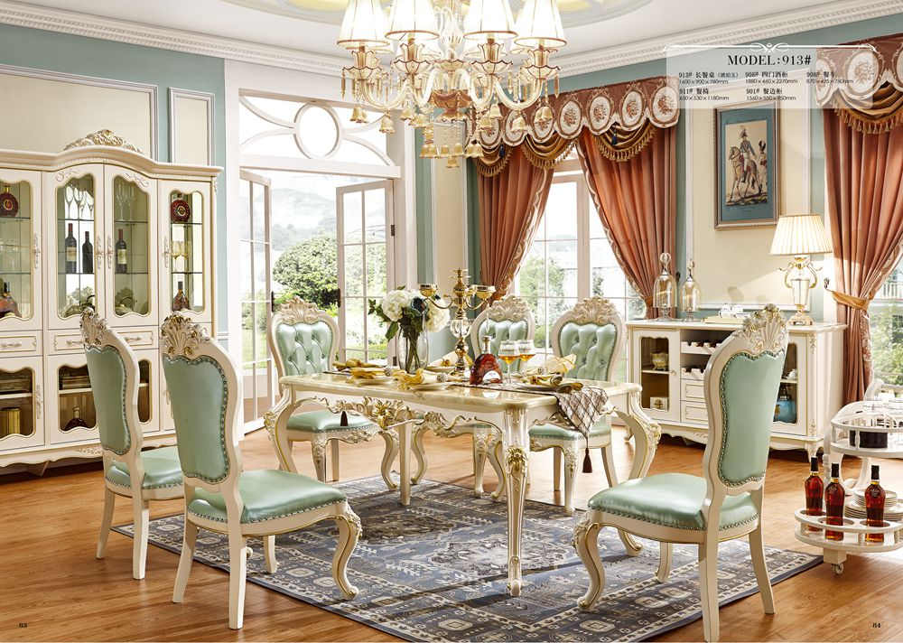 European style solid wood dining room set/ home furniture Sets with wine cabinet