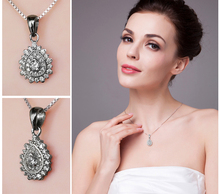 Pear-Shaped Cluster 0.3ct Cubic Zirconia Fine Pendant For Women 925 Sterling Silver Jewelry Not Include A Chain