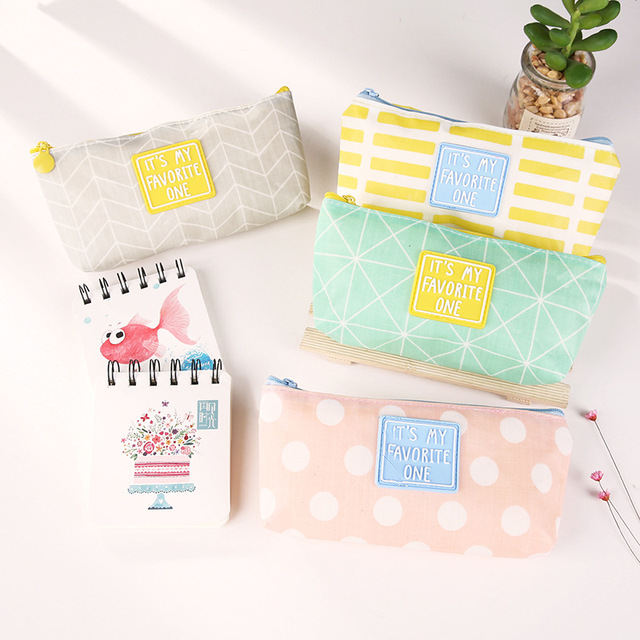 Kawaii Stationery Geometric Pattern Pencil Case Pen Storage Box School Office Supplies Cute Cosmetic Bag Papelaria