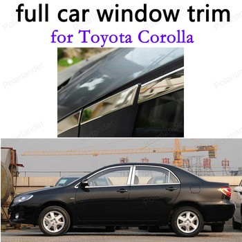 for Toyota Corolla full Window Trim  Car Exterior Accessories Stainless Steel Decoration Strips