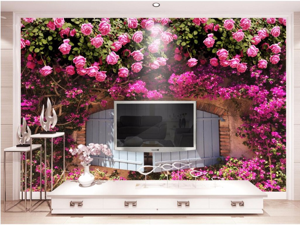 Custom mural photo 3d wallpaper Pink rose flower background picture room decor painting 3d wall murals wallpaper for wall 3 d custom photo 3d wall murals wallpaper mountain waterfalls water decor painting picture wallpapers for walls 3 d living room