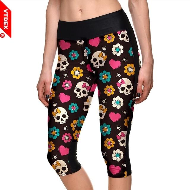 33f26509e24 Skull Pattern Yoga Pants VTDEX Girl 2018 Sexy Breathable Fitness Capri  Leggings Quick Dry Skinny Sport Tights Plus Size 4XL