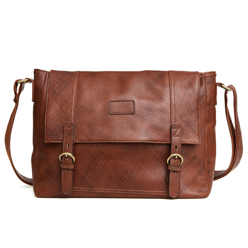 Nesitu Promotion High Quality Brown Vintage 100% Guarantee Real Skin Genuine Leather Men Messenger Bags Man Shoulder Bag #M6350