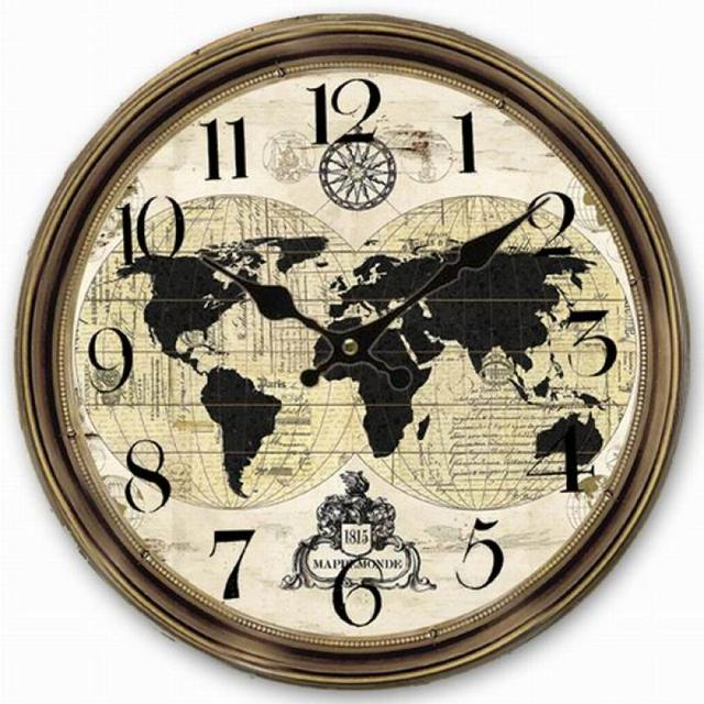 Retro vintage large clock world map globe home decorative wall clock retro vintage large clock world map globe home decorative wall clock wood 34cm gumiabroncs Gallery