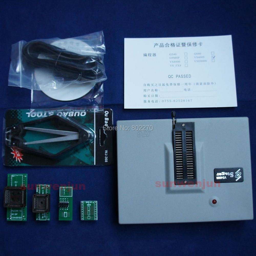 VSpeed VS4000 USB Bios EPROM SPI FLASH 51 AVR PIC Universal Programmer+4 adapter vs4800 usb universal programmer for bios gal eprom flash 51 avr pic mcu spi with 48pin zif socket support 15000 ic 4 adapters