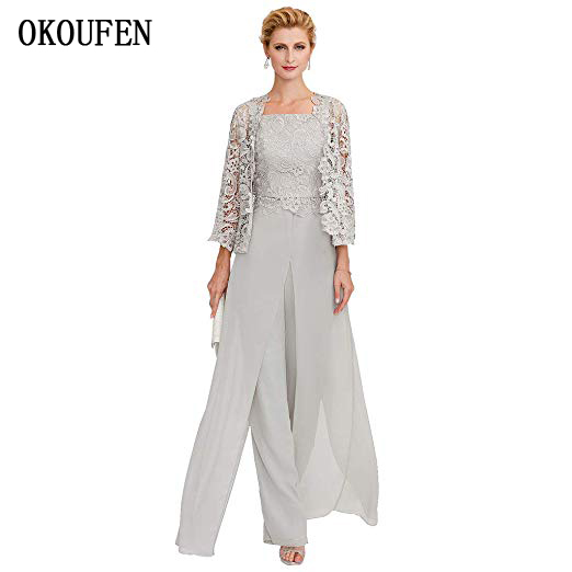 OKOUFEN Mother Of The Bride Dresses For Wedding 2019 Chiffon Pantsuits 3 Piece Set Silver Lace Jacket Front Split Kurti Madrinha