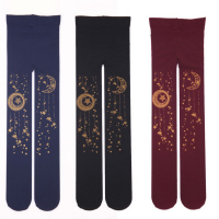 Sweet Mori Girl Tights Kawaii Gold Star Moon Stamped 100D Lolita Pantyhose