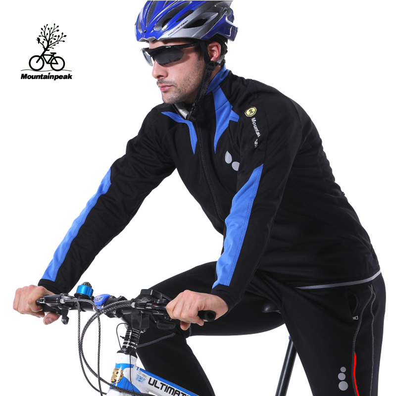 Mountainpeak Winter Riding Clothes Fleece Suit Male Long Sleeved Thickened Bicycle Riding Trousers Warm Wind Rain