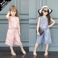 2016 Children Summer Baby Girls Clothing Set KIds Vest Sleeveless waistcoat +Wide Leg Pants Clothes Suits Twinset