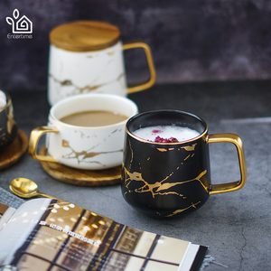 Image 2 - Entertime Nordic Style Marble matte gold series ceramic tea cup coffee mug with wooden lid or tray