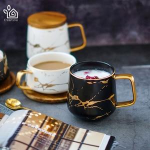Image 2 - Entertime styl skandynawski marmurowy matowy złota seria ceramiczny kubek na herbatę kubek kawy z drewnianą pokrywką lub tacą