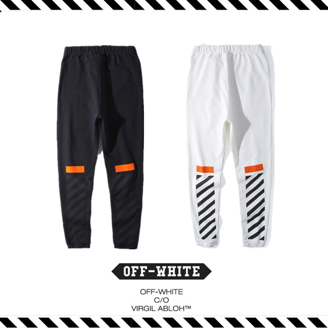 ce89560c7784 Best Version New Arrival 2017 Spring Summer OFF WHITE Orange Flocking Twill  Fleece Pants Hip Hop Kanye West Justin Bieber Men