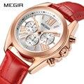 Женские кварцевые часы MEGIR  модные повседневные часы для любителей