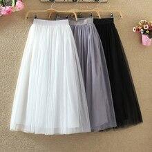 TIGENA longue Tulle jupes femmes 2020 été élastique taille haute maille Tutu plissé jupe femme noir blanc gris Maxi jupe
