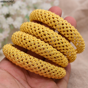 Annayoyo 4pcs New Fashion 24K Gold Color Wedding Bangles for Women Bride Bracelets Ethiopian/france/African/Dubai Jewelry gifts