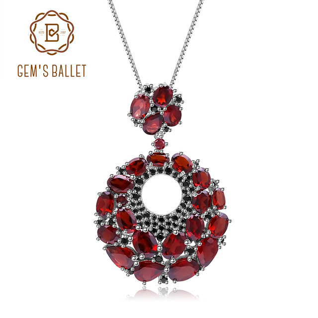 GEMS BALLET Natural Red Garnet Gemstone Vintage 925 Sterling Sliver Pendant Necklace For Women Gift Party Jewelry