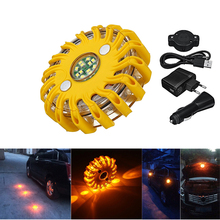 16-LED Rechargeable Magnetic Emergency Hazard Warning Light 9 in 1 Strobe Yellow цены