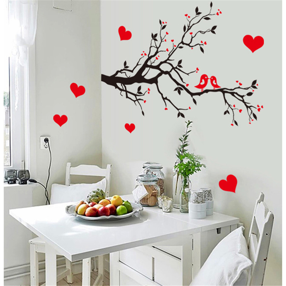 Beautiful diy red love heart ird wall stickers bdecal - Beautiful wall stickers for living room ...