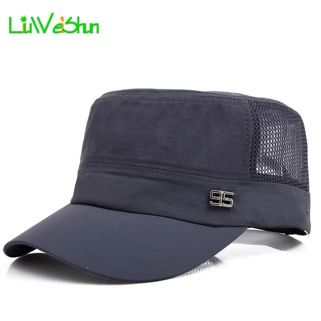 LWS  Casual Outdoor Military Hat Mesh Cap Men Women Cotton Unisex Solid Military  Hat Trucker Hats For Men Flat Caps Gorras 27bde0a73d4