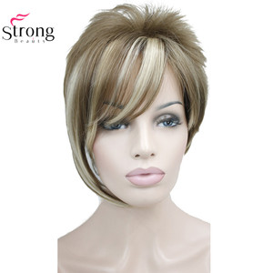 Image 5 - StrongBeauty Light Auburn with Highlights Inclined Bangs Short Straight Synthetic Hair Wig For Girl