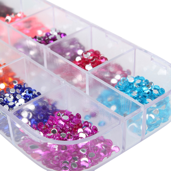 2000 pcs 12 Colors Nail Shining Rhinestones Glitter Acrylic Nail Art Decoration 2mm For UV Gel Iphone and laptop DIY Nail tools fashionable oumaxi 12 colors acrylic nail paints for 3d nail art drawings and designs