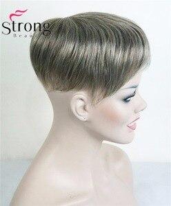 Image 2 - StrongBeauty tupé corto de pelo sintético para mujer, extensiones de cabello, opciones de color