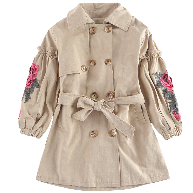 2018 Girls Trench Coat Children's Big Turn Down Collar Double Breasted Long Trench Outerwear Coat Kids Solid Color Trench 10 12
