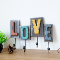 American Creative Wooden LOVE Retro Hooks Ornaments Wall Hanging Decorative Hook Wall Storage Key Coat Hooks Hanger Home Decor