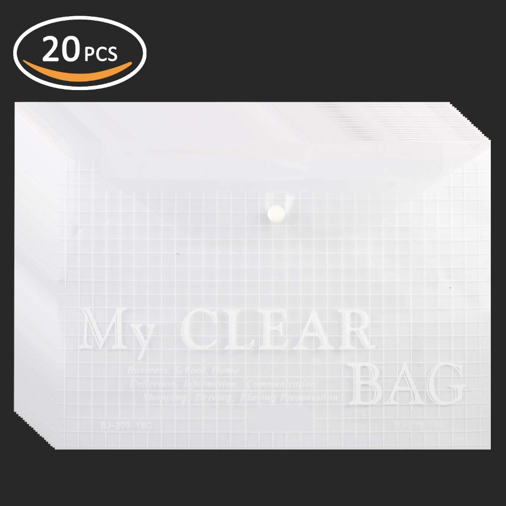 clear transparent lettera4 size booklet document file envelope folder holder organizer bagsize 1259 inch20 countset