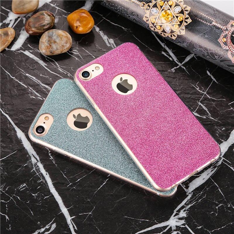 Flash de diamantes brillo ultra delgado teléfono tpu case para iphone 6 6s 6 más