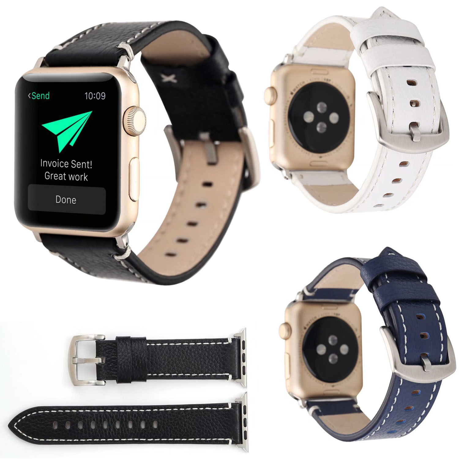 DAHASE Litchi Genuine Leather Watch Band for Apple Watch Series 3 Strap Belt Wristband for iWatch 1/2/3 Bracelet 42mm 38mm woven canvas casual sports watch band iwatch strap genuine leather watch belt for apple watch