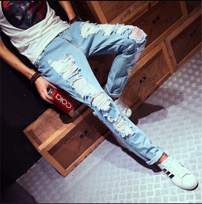 2016 New Fashion Ripped Jeans Pants For Men Hole Slim Fit Distressed Denim Joggers Brand Designer Mens Patch Jeans S-XXL 2017 fashion patch jeans men slim straight denim jeans ripped trousers new famous brand biker jeans logo mens zipper jeans 604