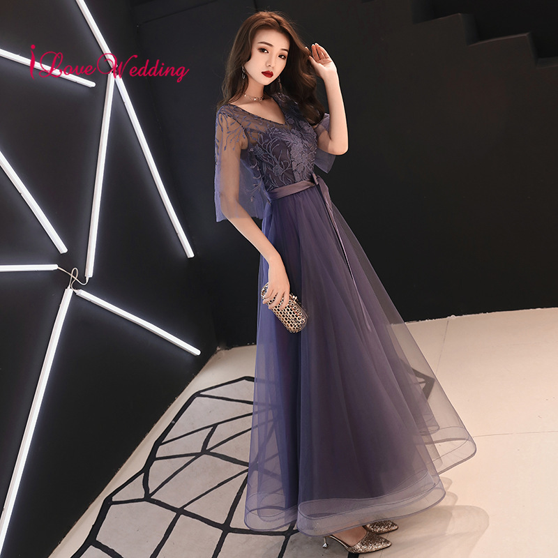 New Arrival 2019 Sexy V Neck Lace Gray Formal Gown Half Bell Sleeves Natural Waist Floor Length Formal Long   Evening     Dresses