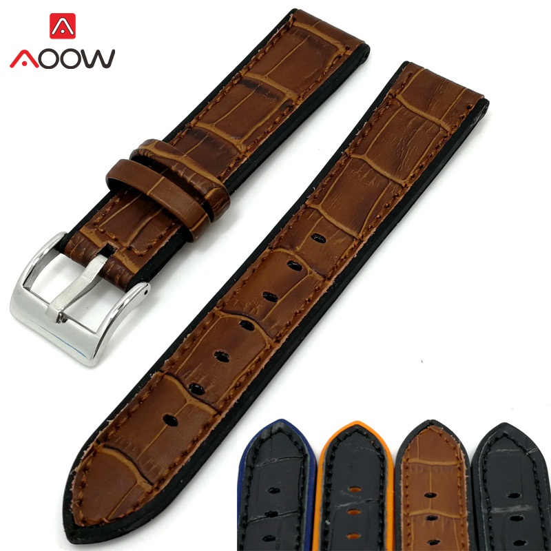 AOOW Leather Watchband Strap Cow Leather Silicone 20mm 22mm Silver Metal Buckle Women Men Watch Accessories 2018 New Design