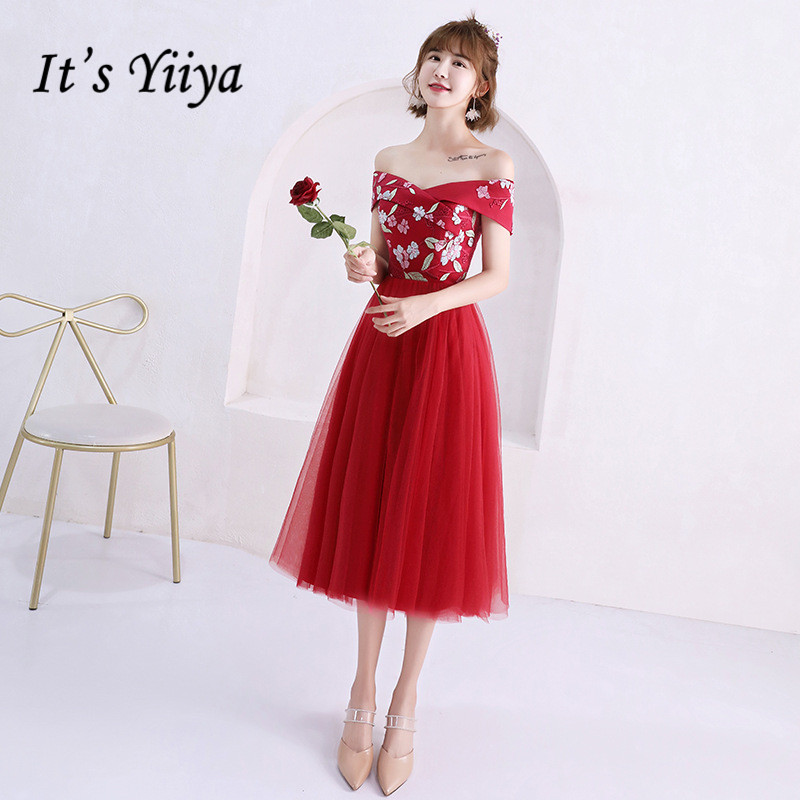 It's YiiYa   Bridesmaid     Dress   Appliques Beading Wine Red   bridesmaid     dresses   Elegant Boat Neck Flowers Party Gown 6 Styles E136