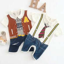 Jumpsuit Baby Romper Costume Newborn Baby Boy Clothes Boy Baby Print Tie Jacket Denim Pattern Cotton Jumpsuit Children's Clothes(China)