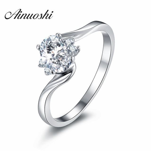 ainoushi 925 sterling silver solitario ring sona engagement ring bague solitaire oval cut nscd twist wedding - Oval Wedding Ring