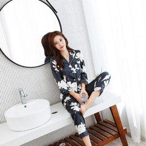 Image 5 - JRMISSLI Lange Bloem Mouwen Print Zijden Pyjama Pak Vrouwen Lounge Pyjama Sets Zijde Satijn Pijama Nachtkleding Pyjama